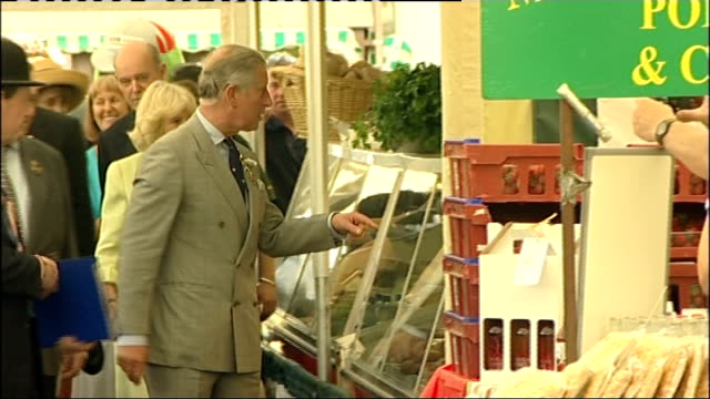 vídeos de stock, filmes e b-roll de prince of wales and duchess of cornwall visit royal show england warwickshire stoneleigh park photography *** prince charles prince of wales and... - pie humano