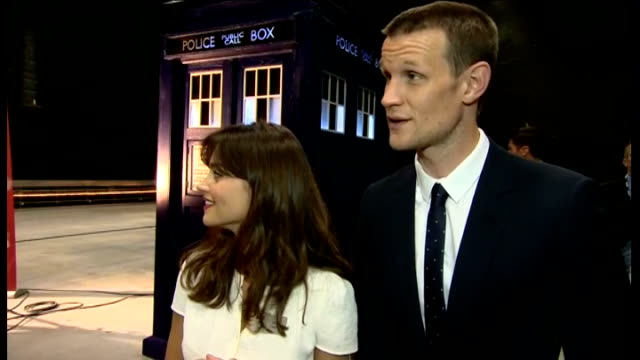 prince of wales and duchess of cornwall visit the set of dr who in cardiff; matt smith and jenna coleman interview sot - on prince charles meeting dr... - ドクター フー点の映像素材/bロール