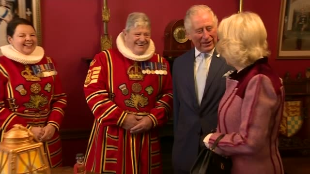 prince of wales and the duchess of cornwall visit the tower of london; england: london: tower of london: int **some flash photography** charles,... - prince of wales stock videos & royalty-free footage