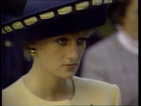 prince of wales biography row lib diana looking unhappy cs charles diana with hands at sides diana and charles in car - sadness stock videos & royalty-free footage