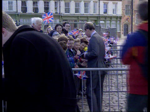 prince of wales biography row tyne tees pool 231098 charles speaking to children on walkabout - biography stock videos & royalty-free footage
