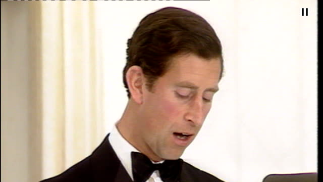 stockvideo's en b-roll-footage met prince of wales criticised over chelsea barracks intervention tx riba 150th dinner int prince charles prince of wales speech sot what is proposed... - elegantie