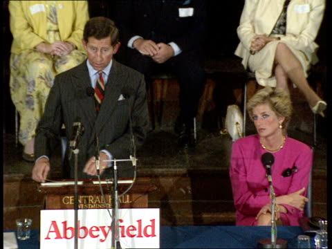 prince of wales speech on ageing: 02; charles [prince charles, prince of wales] speech on ageing little girl presents bouquet of flowers to diana... - britisches königshaus stock-videos und b-roll-filmmaterial