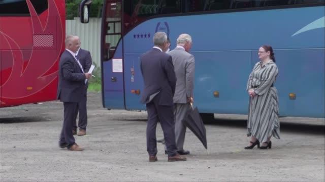vídeos y material grabado en eventos de stock de prince of wales visits coach tour operator in wales wales rhondda cynon taf cynon valley mountain ash various of prince charles prince of wales... - árbol de hoja caduca