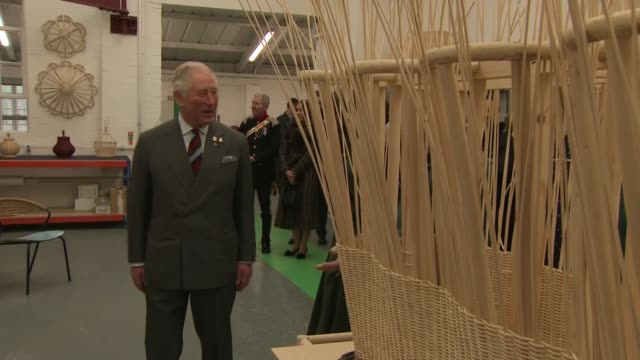 prince of wales visits leicester soane britain workshop; england: leicestershire: leicester: int prince charles, prince of wales attempts to weave... - metalwork stock videos & royalty-free footage