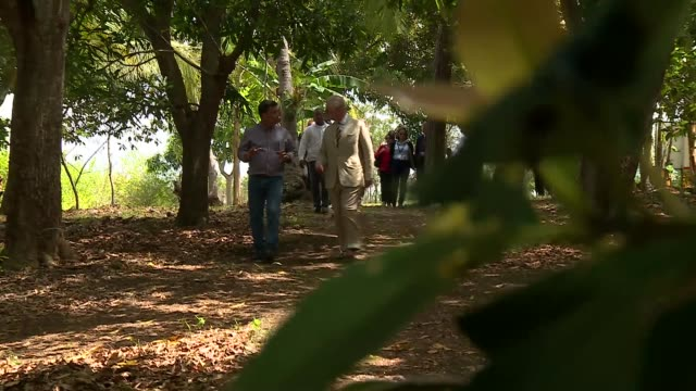 Prince of Wales visits organic farm and solar energy project CUBA Mariel GVs Prince Charles touring farm / meeting beekeeper / GVs bees