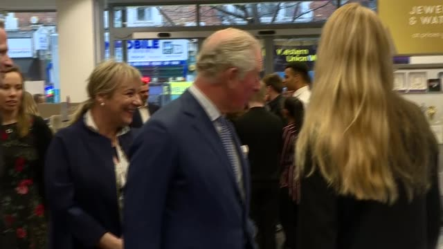 prince of wales visits tk maxx store in tooting england london tooting int various shots of prince charles prince of wales chatting with staff in tk... - ohio stock videos & royalty-free footage