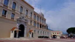 Prince Palace Monaco city Monte Carlo town Cars road time-lapse