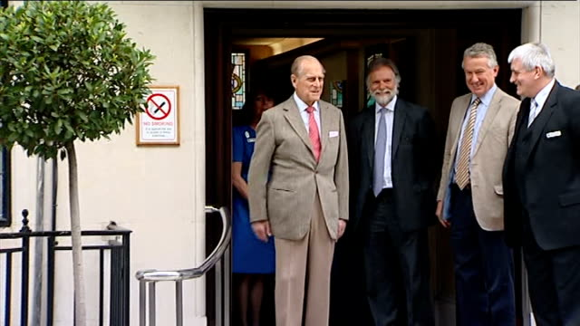 Prince Philip admitted to hospital after recurrence of bladder infection T09061222 / TX DAY Prince Philip speaking to press as standing on steps of...
