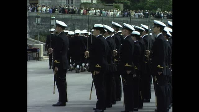 prince philip at royal naval college dartmouth; part 1 of 7 england: devon: dartmouth: britannia royal naval college: ext people waiting as cadets... - cadet stock videos & royalty-free footage