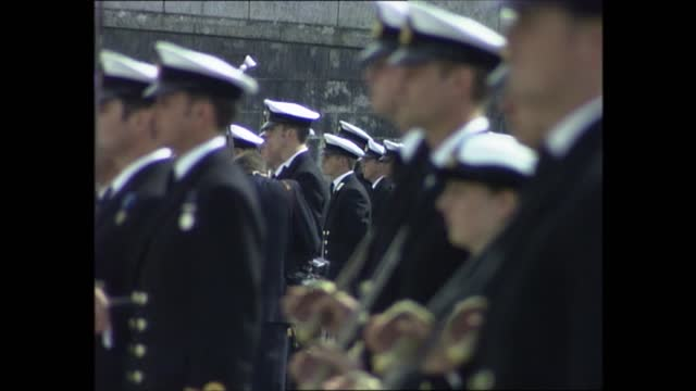 prince philip at royal naval college dartmouth; part 3 of 7 england: devon: dartmouth: britannia royal naval college: ext various of passing out... - cadet stock videos & royalty-free footage