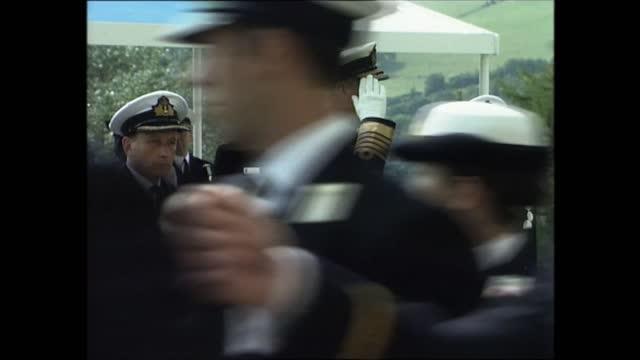 prince philip at royal naval college dartmouth; part 5 of 7 england: devon: dartmouth: britannia royal naval college: ext side prince philip, duke of... - cadet stock videos & royalty-free footage