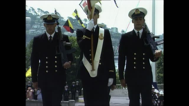 prince philip at royal naval college dartmouth; part 6 of 7 england: devon: dartmouth: britannia royal naval college: ext various of cadets marching... - cadet stock videos & royalty-free footage