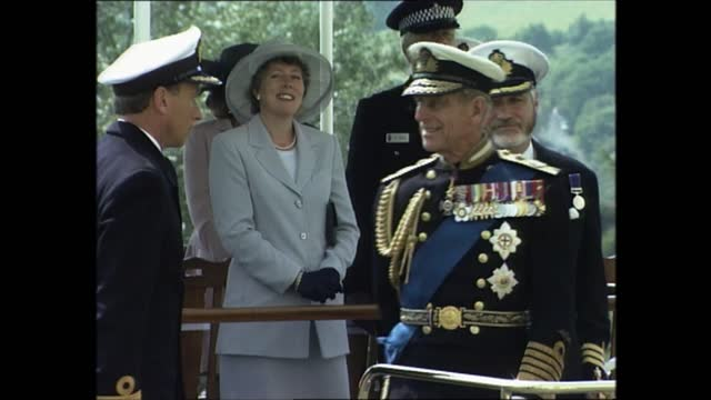 prince philip at royal naval college dartmouth; part 7 of 7 england: devon: dartmouth: britannia royal naval college: ext various of cadets marching... - cadet stock videos & royalty-free footage