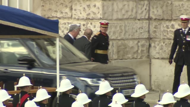 prince philip attends beating retreat at horse guards parade philip out of car amd into building - horse guards parade stock videos and b-roll footage