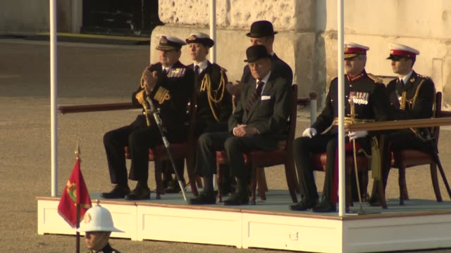 prince philip attends beating retreat at horse guards parade philp standing to attention / gun salute / philip leaving - horse guards parade stock videos and b-roll footage