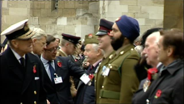prince philip attends ceremony at westminster abbey veterans at service pull out prince philips / more of duke of edinburgh meeting veterans... - dog coat stock videos and b-roll footage