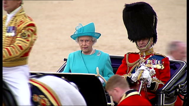 prince philip becomes longest serving consort; tx 14.6.2008 horse guards parade: queen and prince philip in horse-drawn carriage during trooping of... - 軍旗分列行進式点の映像素材/bロール