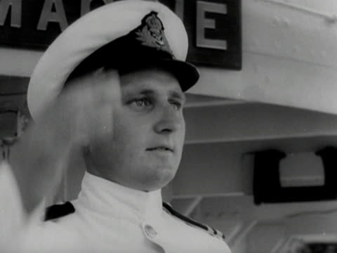 Prince Philip boards HMS Magpie at the grand harbour in Malta to take command of the frigate 1950