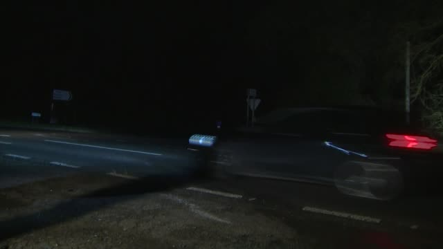 crash scene at night england norfolk sandringham various of broken glass and other debris at the road side following the road traffic accident... - prince philip stock videos & royalty-free footage