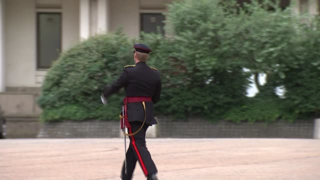 vidéos et rushes de prince philip carries out last official public engagement england london ext military band playing sot soldiers along soldiers with bayonets corporal... - baïonnette