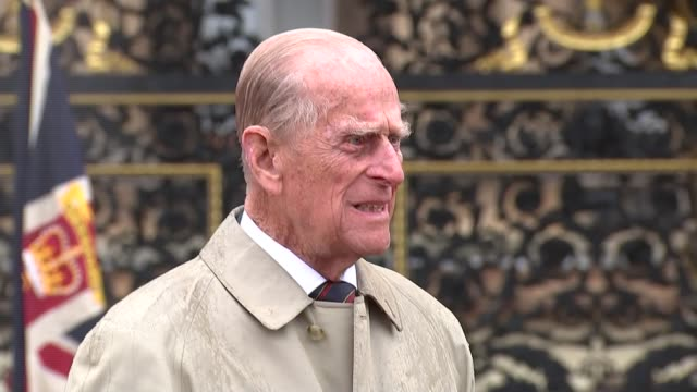 prince philip carries out last official public engagement england london buckingham palace ext prince philip duke of edinburgh wearing bowler hat and... - prince philip stock videos & royalty-free footage