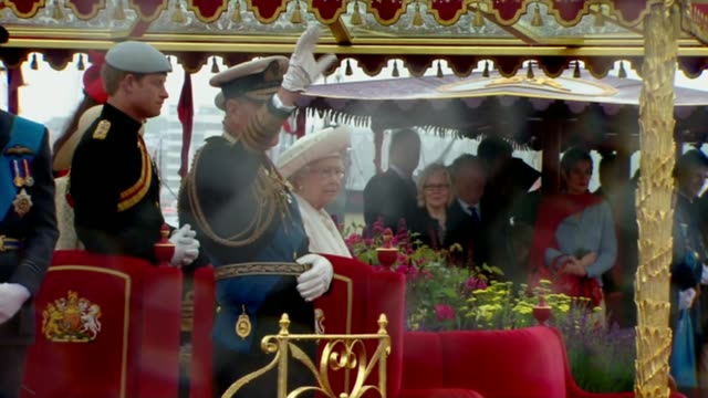 prince philip carries out last official public engagement; lib - 3.6.2012 prince philip on barge with queen at thames diamond jubilee pageant - diamantenes jubiläum stock-videos und b-roll-filmmaterial