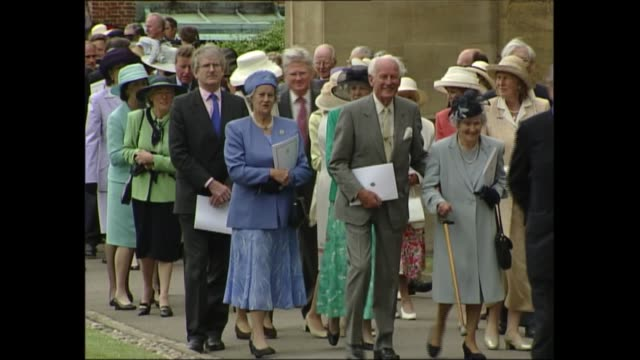 prince philip celebrates 80th birthday at windsor; england: berkshire: windsor: st george's chapel: ext lms queen elizabeth ii out of church with... - sophie rhys jones, countess of wessex stock videos & royalty-free footage