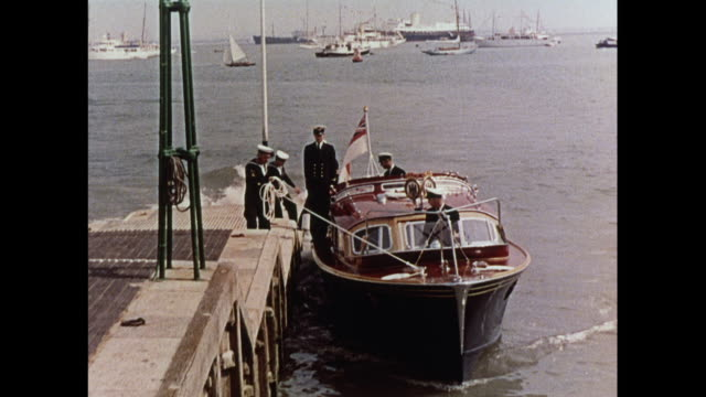 prince philip coming ashore from royal yacht in cowes / united kingdom - isle of wight stock videos & royalty-free footage
