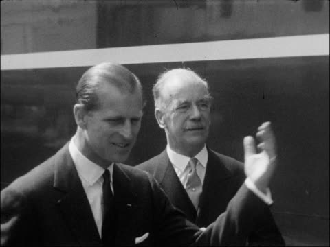 prince philip drives train engine england london marylebone goods station int prince philip duke of edinburgh unveils plaque on the magpie new diesel... - prince philip stock videos & royalty-free footage