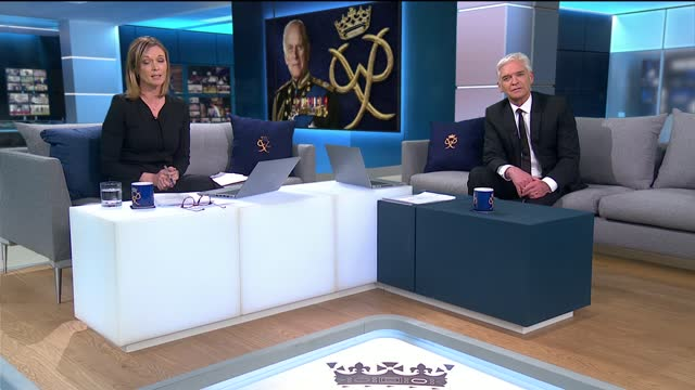 prince philip, duke of edinburgh dies aged 99:itv news special: 'prince philip: fondly remembered': pab20.00 - 21.00; england: london: gir: int... - phillip schofield stock videos & royalty-free footage