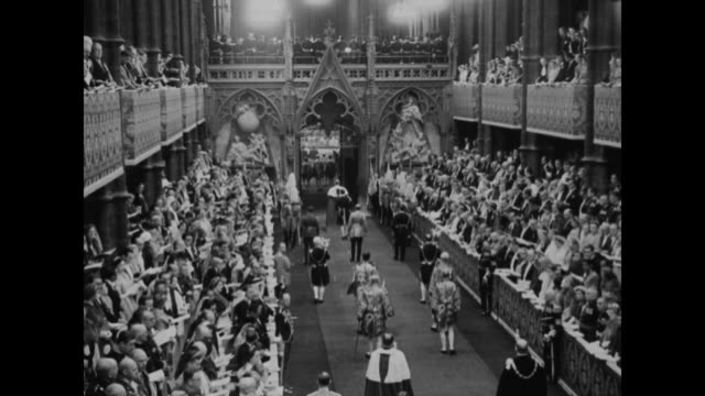 prince philip duke of edinburgh in procession entering queen elizabeth ii's 1953 coronation ceremony at westminster abbey / queen elizabeth ii enters... - coronation stock videos and b-roll footage