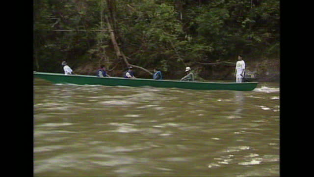 prince philip, duke of edinburgh, on canoe on jungle during visit to brunei - british royalty stock videos & royalty-free footage