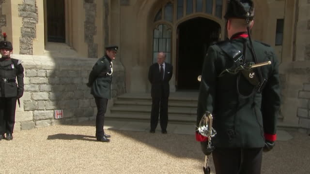 prince philip duke of edinburgh waving goodbye at windsor castle after officially relinquishing the military role of colonel in chief of the rifles... - rifle stock videos & royalty-free footage