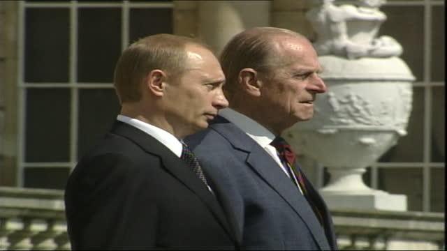 prince philip, duke of edinburgh, with russian president, vladimir putin, during official state visit, buckingham palace - 2003 stock videos & royalty-free footage