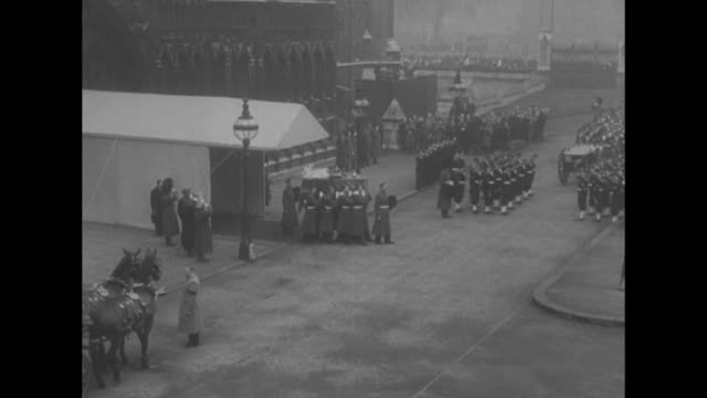prince philip dukes of gloucester windsor and kent stand in line watching / archbishop of canterbury geoffrey fisher and church clergy stand on top... - 1952 stock videos & royalty-free footage