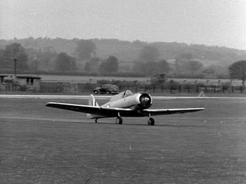 Prince Philip flies a small aircraft at WhiteWaltham airfield