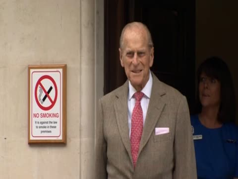 prince philip greets hospital staff as he leaves after being treated for a bladder infection - bladder stock videos & royalty-free footage