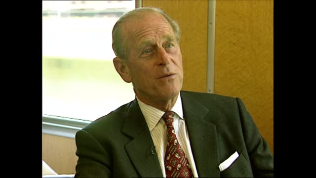 prince philip interviewed on the environment; switzerland: berne: int train prince philip, duke of edinburgh interview sot. - i don't think that any... - interview raw footage stock videos & royalty-free footage