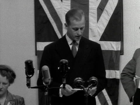 Prince Philip makes a speech and unveils a plaque at the opening of the new extension at the Shotton steelworks in North Wales 1953