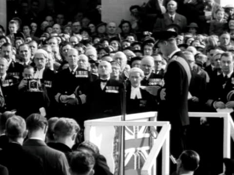 prince philip makes a speech at the unveiling ceremony of the new extension to the naval war memorial at chatham. - war stock-videos und b-roll-filmmaterial