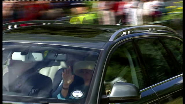 Prince Philip misses church service after spending fourth night in hospital SCOTLAND Balmoral Craithie Kirk EXT Cars along carrying members of the...