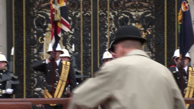 prince philip observing the national anthem during his final appearance at a parade of royal marines at buckingham palace - royal marines stock videos & royalty-free footage