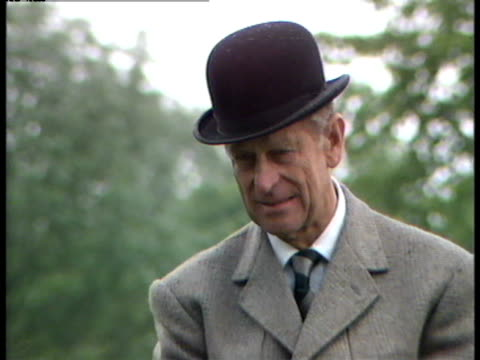 prince philip prepares to compete in the windsor horse trials - ウマ科点の映像素材/bロール