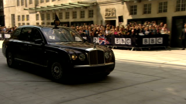 stockvideo's en b-roll-footage met prince philip 'progressing satisfactorily' following exploratory surgery england london bbc broadcasting house ext queen elizabeth arriving in... - koninklijk persoon