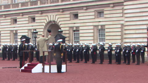 vídeos y material grabado en eventos de stock de prince philip receiving three cheers from royal marines and being played off to 'for he's a jolly good fellow' during his final appearance - royal marines
