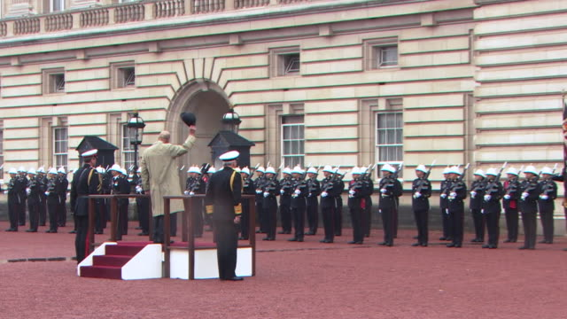 prince philip receiving three cheers from royal marines and being played off to 'for he's a jolly good fellow' during his final appearance - royal marines stock videos & royalty-free footage