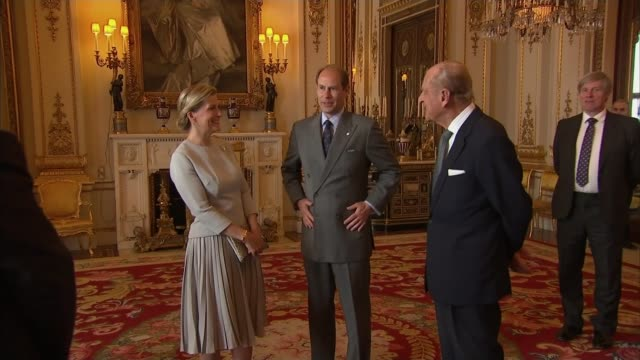 prince philip retirement: prince edward comments; lib / 16.5.2016 england: london: buckingham palace: sophie, countess of wessex and prince edward,... - commonwealth games stock videos & royalty-free footage