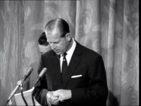 prince philip speaks on aircraft industry ***also london royal garden hotel int prince philip duke of edinburgh speech sof cutaway audience applauding - prince philip stock videos & royalty-free footage