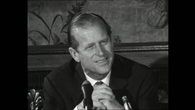 stockvideo's en b-roll-footage met prince philip to quit as cvo president:; england: london: st james' palace: int lms prince and others seated at table prince philip, duke of... - itv evening bulletin